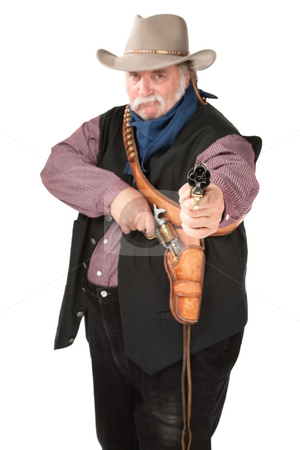 Cowboy pointing pistol stock photo, Big cowboy pointing pistol on white background by Scott Griessel