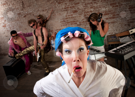 Angry neighbor  stock photo, Angry neighbor crashing a 1970s Disco Music Party by Scott Griessel