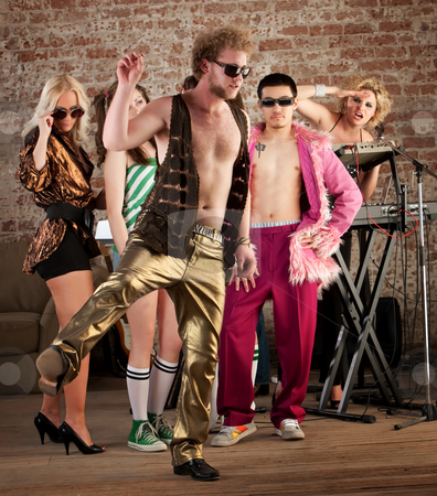 Funny dancing stock photo, Funny dancing at a 1970s Disco Music Party by Scott Griessel