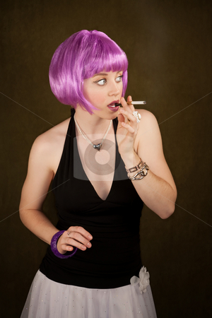 Caught Smoking stock photo, Portrait of woman with shiny purple hair caught smoking by Scott Griessel