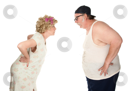 Bickering couple stock photo, Bickering couple facing each other on white background by Scott Griessel