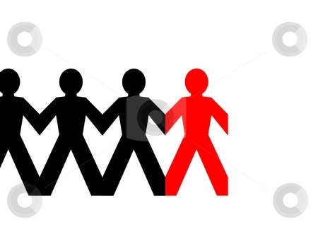 Group Man Red stock photo, Group of man standing in line on white background by Henrik Lehnerer