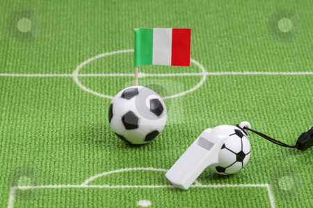 Thunderer whistle stock photo, Soccerball and italian flag on a lawn with thunderer whistle in detail. by Birgit Reitz-Hofmann
