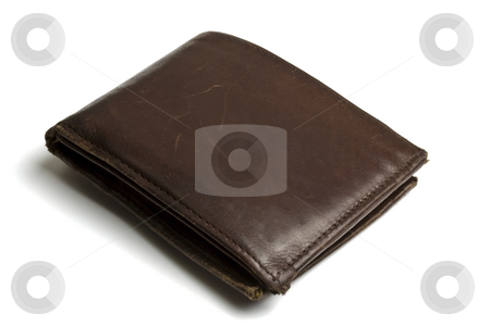 Wallet stock photo, Brown wallet isolated on white background by Ingvar Bjork
