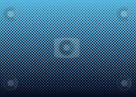 Halftone background blue stock vector clipart, Seamless halftone dot pattern background with blue by Michael Travers