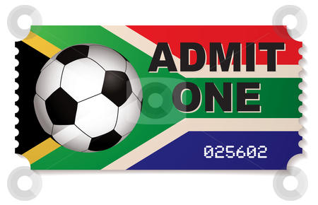 South africa football ticket stock vector clipart, Ticket for football match in south africa with soccer ball by Michael Travers