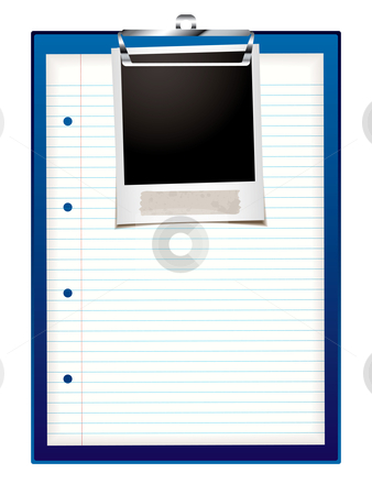 Clip board photo stock vector clipart, Blue clip board with instant photo and white paper with lines by Michael Travers