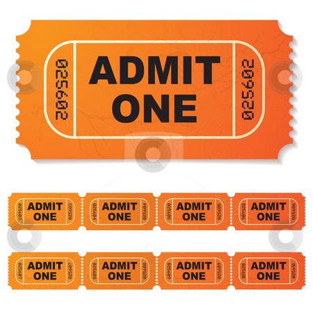Admit one ticket stock vector clipart, Orange illustrated admit one paper ticket by Michael Travers