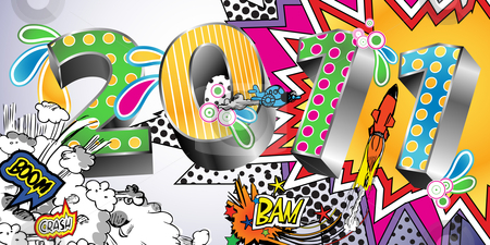 2011 Cartoon Style Background stock vector clipart, 2011 in a Colorful Comic Book Style by Linnea Eriksson