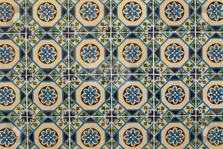 Portuguese glazed tiles 182 stock photo, Detail of Portuguese glazed tiles. by Homydesign