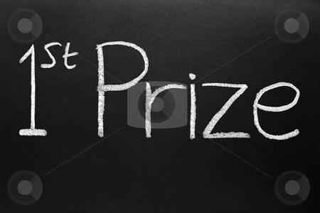 1st prize written on a blackboard. stock photo, 1st prize written on a blackboard. by Stephen Rees