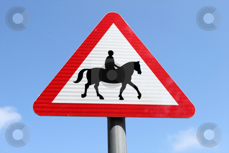 British accompanied horses or ponies, warning road sign. stock photo, British accompanied horses or ponies, warning road sign. by Stephen Rees