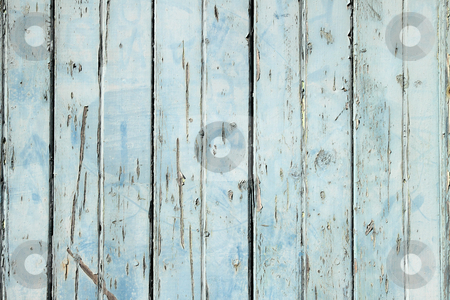 Old weathered light blue painted fence close up. stock photo, Old weathered light blue painted fence close up. by Stephen Rees
