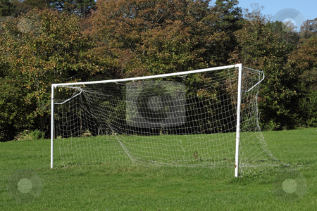 Park soccer football pitch goal posts and net. stock photo, Park soccer football pitch goal posts and net. by Stephen Rees