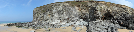 Panoramic view of cliffs and fallen rocks in Porthtowan. stock photo, Panoramic view of cliffs and fallen rocks in Porthtowan. by Stephen Rees