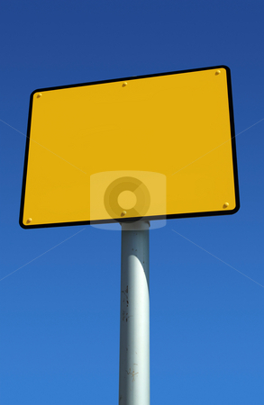 Blank yellow sign ready for text and blue sky. stock photo, Blank yellow sign ready for text and blue sky. by Stephen Rees