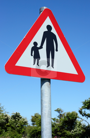 British pedestrians in road sign and blue sky. stock photo, British pedestrians in road sign and blue sky. by Stephen Rees