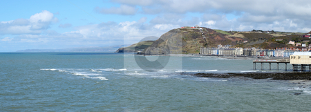 Aberystwyth seaside town panorama in Wales UK. stock photo, Aberystwyth seaside town panorama in Wales UK. by Stephen Rees