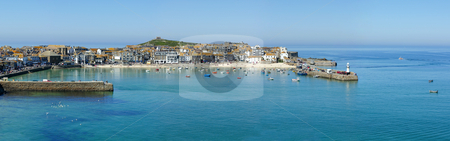 A panoramic view of St. Ives harbour in Cornwall, UK. stock photo, A panoramic view of St. Ives harbour in Cornwall, UK. by Stephen Rees