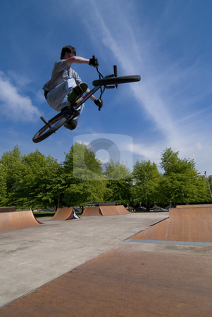 BMX Bike Stunt Table Top stock photo, Bmx Table Top on a skatepark. by Homydesign