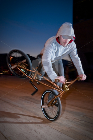 Bmx training at night stock photo, Bmx flatland training at night in a  city. by Homydesign