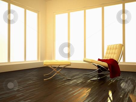Luminous interior stock photo, Luminous interior room with parquet floor and modern seat by Giordano Aita