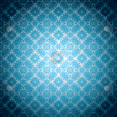 Gothic pale blue wallpaper stock vector clipart, Blue abstract floral seamless background wallpaper pattern by Michael Travers