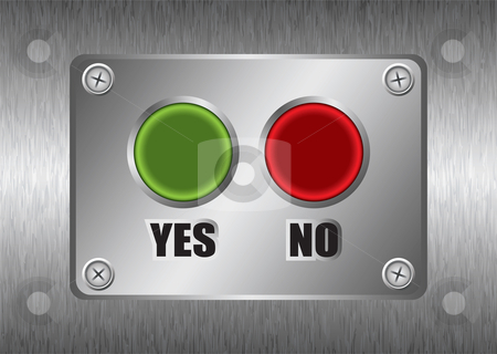 Yes no metal button stock vector clipart, Yes no red and green buttons with brushed silver metal background by Michael Travers
