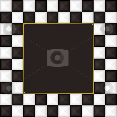 Checkered square picture picture frame stock vector clipart, Black and white square checkered picture frame or border by Michael Travers