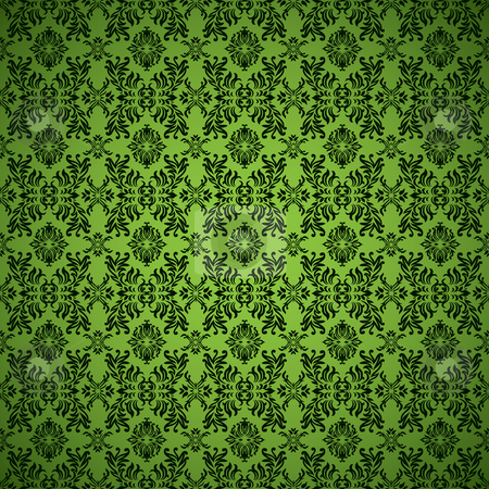 Gothic seamless green wallpaper stock vector clipart, Green seamless wallpaper abstract background pattern by Michael Travers
