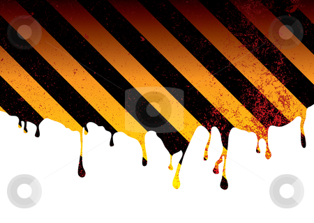 Warning dribble blood stock vector clipart, Oil spill or slick background with warning stripes and ink splats by Michael Travers