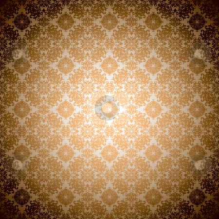 Gothic orange wallpaper stock vector clipart, Orange wallpaper seamless abstract gothic pattern by Michael Travers