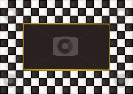 Checkered oblong picture frame stock vector clipart, Black and white checkered picture frame with gold trim by Michael Travers