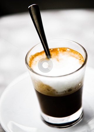 Cappuccino Foam Glass stock photo, Tasty Glass Of Cappuccino With Cream And Foam by Nick Fingerhut