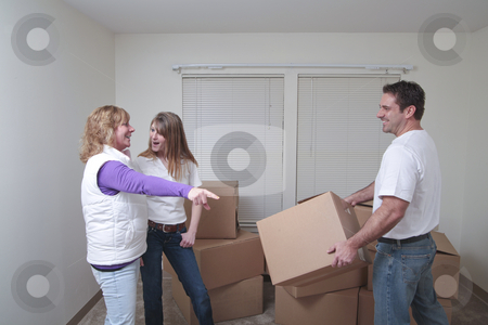 Moving in stock photo, Attractive female friends directing their male friend where to put the box. Focus on the woman. by Christy Thompson