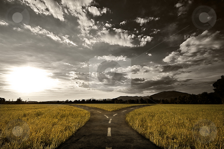 Crossroad stock photo, Crossroad in rural landscape under dusk sky by Giordano Aita