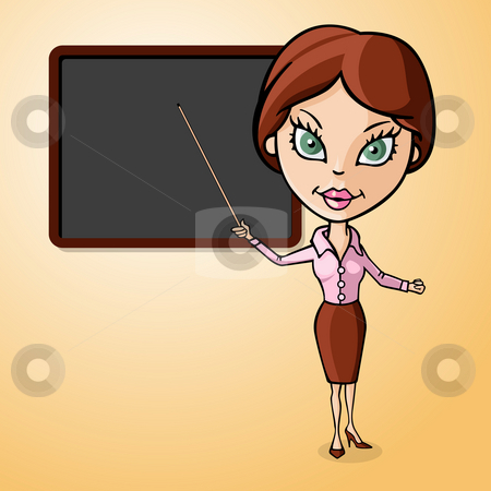 Teacher to the blackboard stock photo, Woman teacher to the blackboard by Giordano Aita