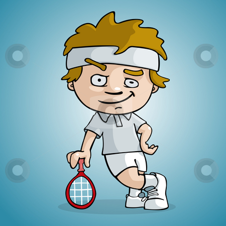 Tennis player stock photo, A tennis player draw cartoon style by Giordano Aita