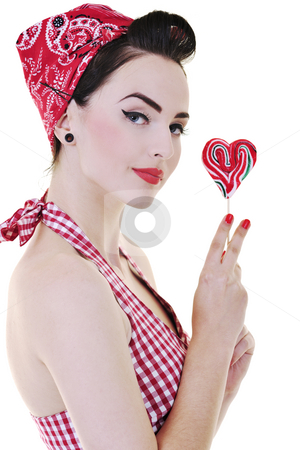 Happy woman with lollipop isolated on white  stock photo, Happy young woman with lollipo candy isolated on white by Benis Arapovic