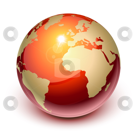 Red earth stock vector clipart, Red earth showing Europe and Africa by Laurent Renault
