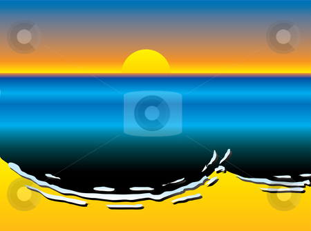 Oil slick sun set stock vector clipart, Oil slick pollution lapping up against a coastal sandy beach with sun set by Michael Travers