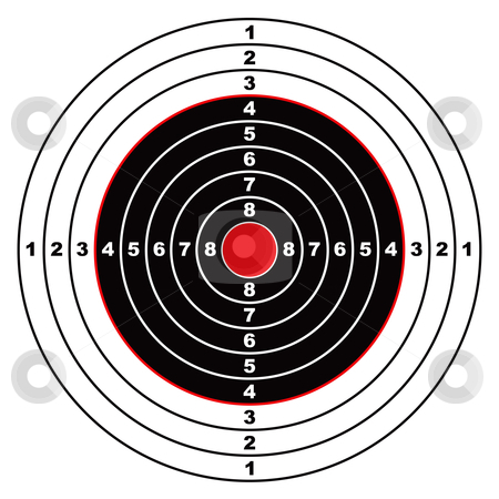 Rifle target stock vector clipart, Illustrated rifle target with black sections and points marked on circle by Michael Travers