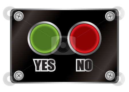 Yes no black button stock vector clipart, Green and red yes no button with black panel and silver screws by Michael Travers