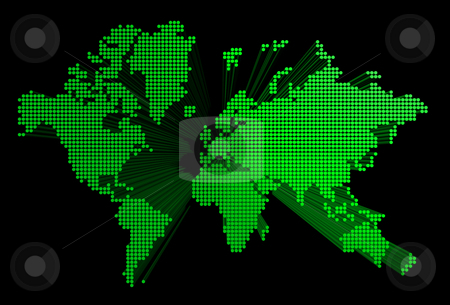Three dimensional green world map stock photo, Three dimensional green spotted world map isolated on black background by Laurent Davoust