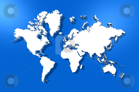 World map stock photo, Three dimensional white world map isolated on blue background by Laurent Davoust