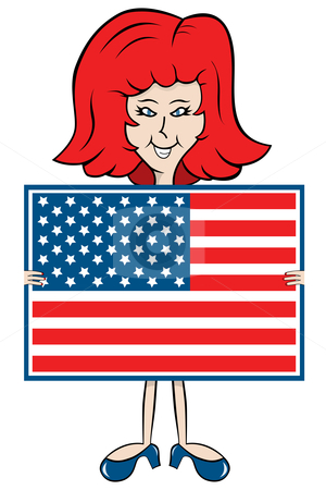 Cartoon lady holding American flag stock vector clipart, Cartoon lady holding American flag with matching shoes and hair color by toots77