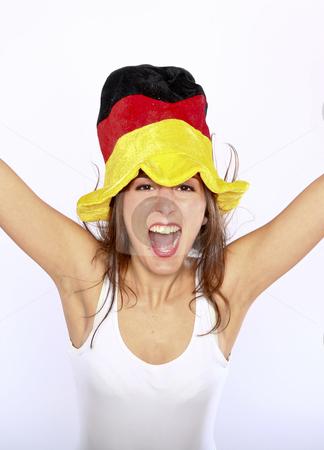 Soccer Fan Woman Wearing A Hat stock photo, Cheerful German Soccer Fan Woman Wearing A Hat by Nick Fingerhut