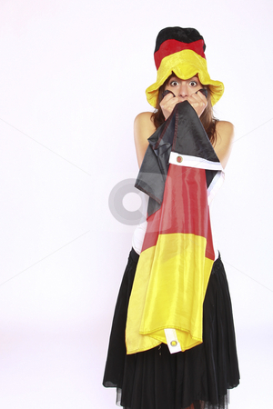 Excited Soccer Fan Girl  stock photo, Excited Soccer Fan Girl Wearing The National German Flag And Hat by Nick Fingerhut