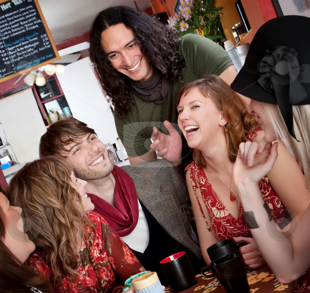 Good times stock photo, Six friends having a good time at a cafe by Scott Griessel