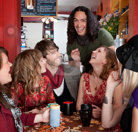 Six friends having a good time stock photo, Six friends having a good time at a cafe by Scott Griessel